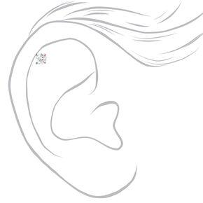 Clous d'oreilles pour piercing de cartilage ornés de strass en zircon cubique d'imitation déclinés en anodisé, noir et couleur argentée - Lot de 3,