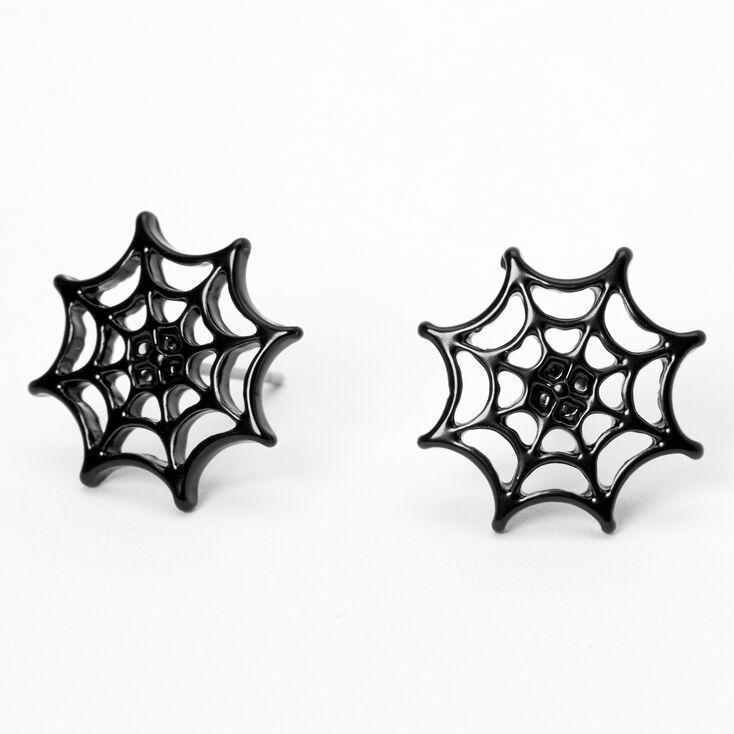 Black Spider Web Stud Earrings,
