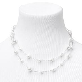 Layered Pearl Multi Strand Necklace - Silver,
