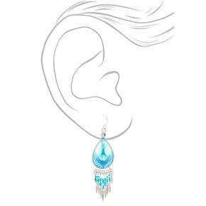 Silver Dreamcatcher Drop Earrings - Turquoise,