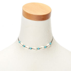 Cowrie Shell Bead Choker Necklace - Turquoise,