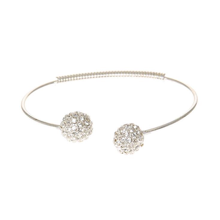 Silver Crystal Fire Open Cuff Bracelet