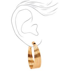 Gold 40MM Wide Spring Hoop Earrings,