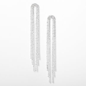 "Silver Rhinestone 4"" Horse Tail Fringe Drop Earrings,"