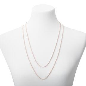 Rose Gold Silk Rhinestone Multi Strand Necklace,