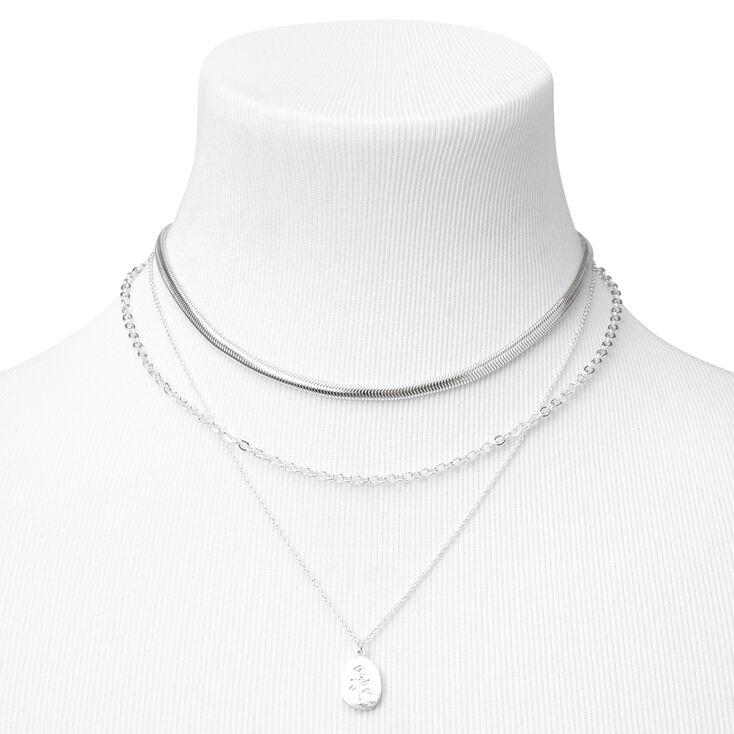 Silver Chain Multi Strand Necklace- Rose,