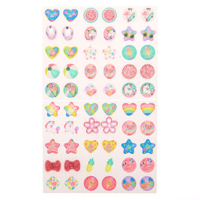 Claire's Club Rainbow Summer Stick On Earrings - 30 Pack,