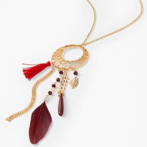 Gold Filigree Feather Long Crescent Pendant Necklace - Burgundy,