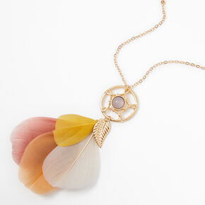 Gold Opal Stone Feathers Long Necklace,