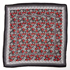 Ditsy Floral Silky Bandana Headwrap - Black,