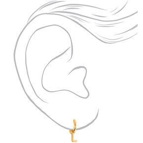 Gold 10MM Initial Huggie Hoop Earrings - L,