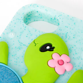 Turquoise Shaker Glitter Tessa the Turtle Silicone Phone Case - Fits Iphone 6/7/8/SE,