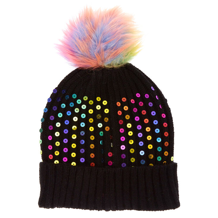 Black Rainbow Sequin Beanie  5caefff66d0