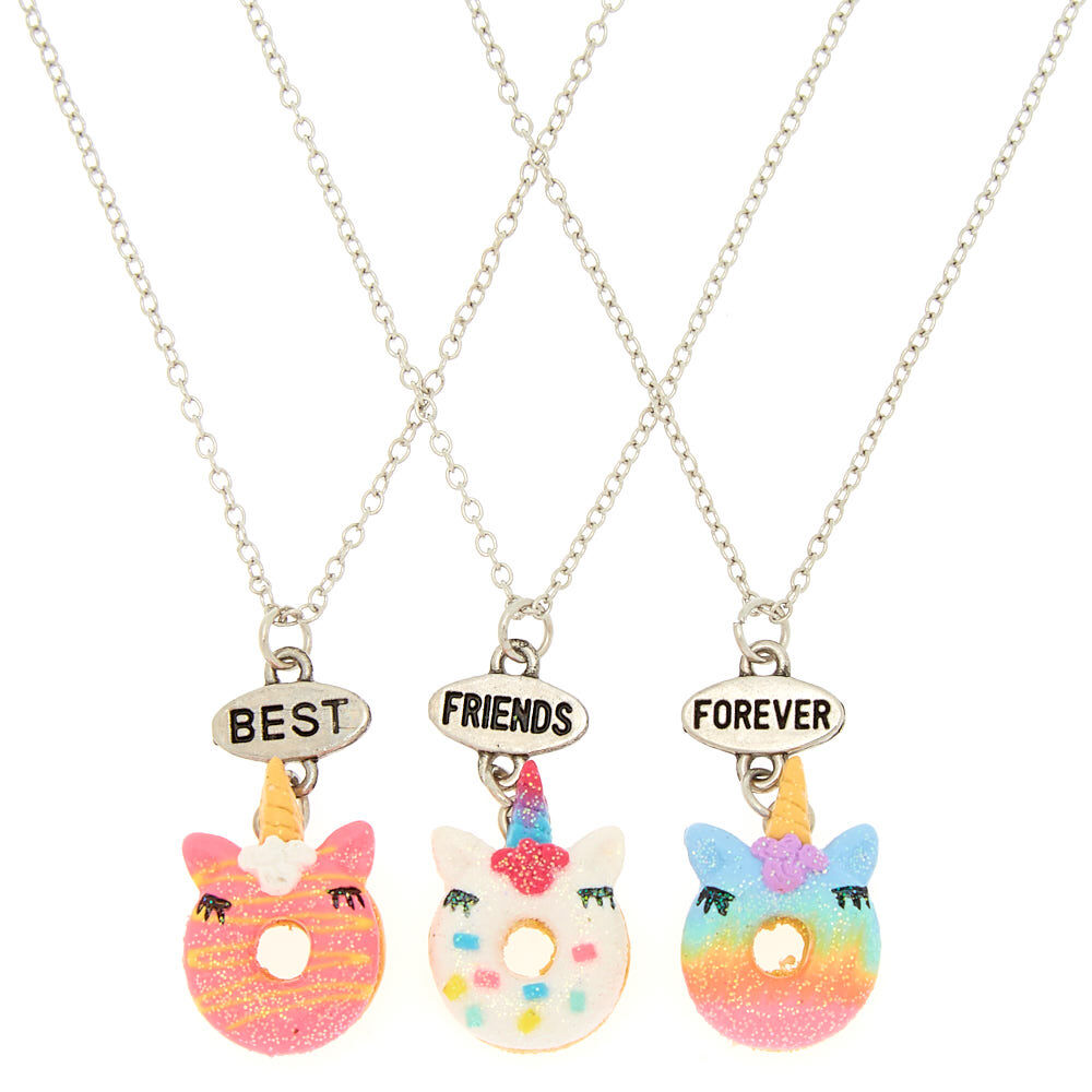 chaines. 3 Colliers pendentif anneau inscrit Best friends forever