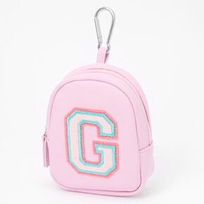 Pink Varsity Initial Mini Backpack Keychain - G,