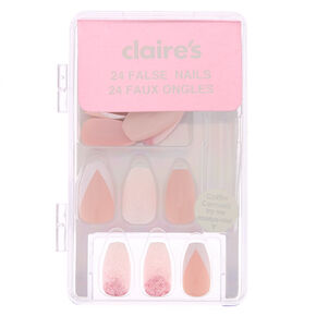 Ombre Glitz & French Tip Coffin Faux Nail Set - Pink, 24 Pack,