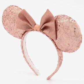Serre-tête à oreilles de Minnie Mouse Disney® en sequins - Couleur doré rose,
