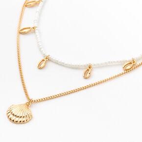 Ras-de-cou multi-rangs coquillages et perles d'imitation couleur dorée,
