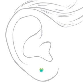Silver Glitter Rainbow Heart Stud Earrings - 9 Pack,