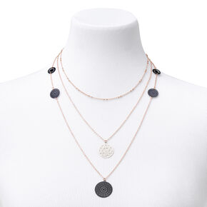 Collier à pendentif multi-rangs en filigrane couleur dorée et noir,