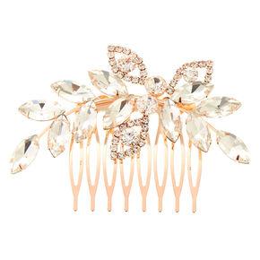 Rose Gold Rhinestone Leaf Hair Comb,
