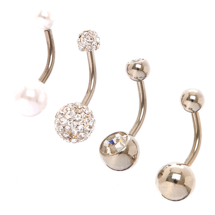 Piercings de nombril perle d'imitation scintillante 1,6mm couleur argentée - Lot de 4,