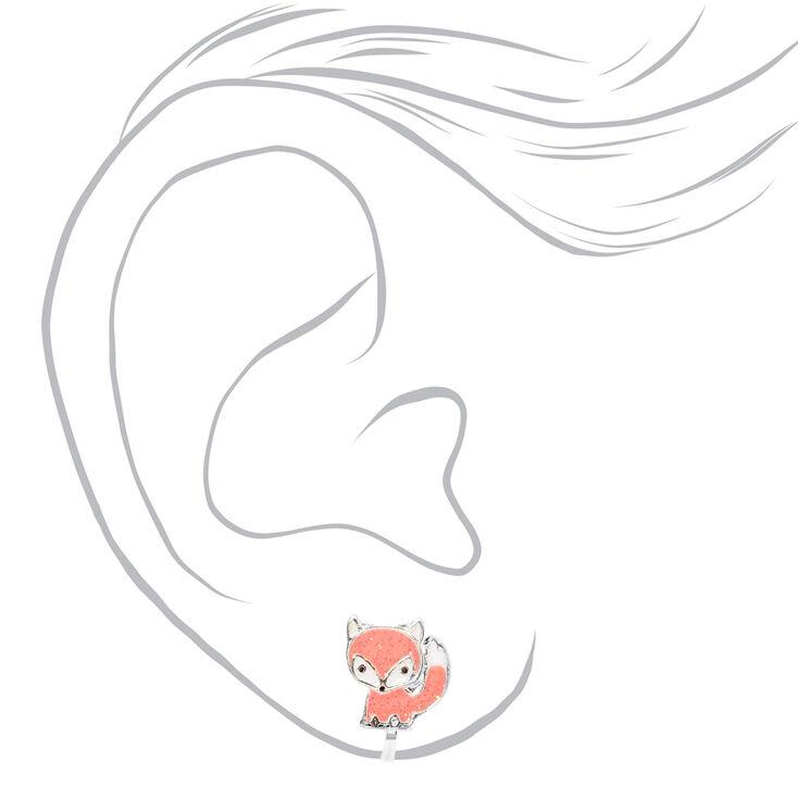 Silver Fox Clip On Stud Earrings - Coral,