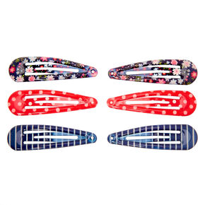 Claire's Club Patterned Snap Hair Clips - 6 Pack,