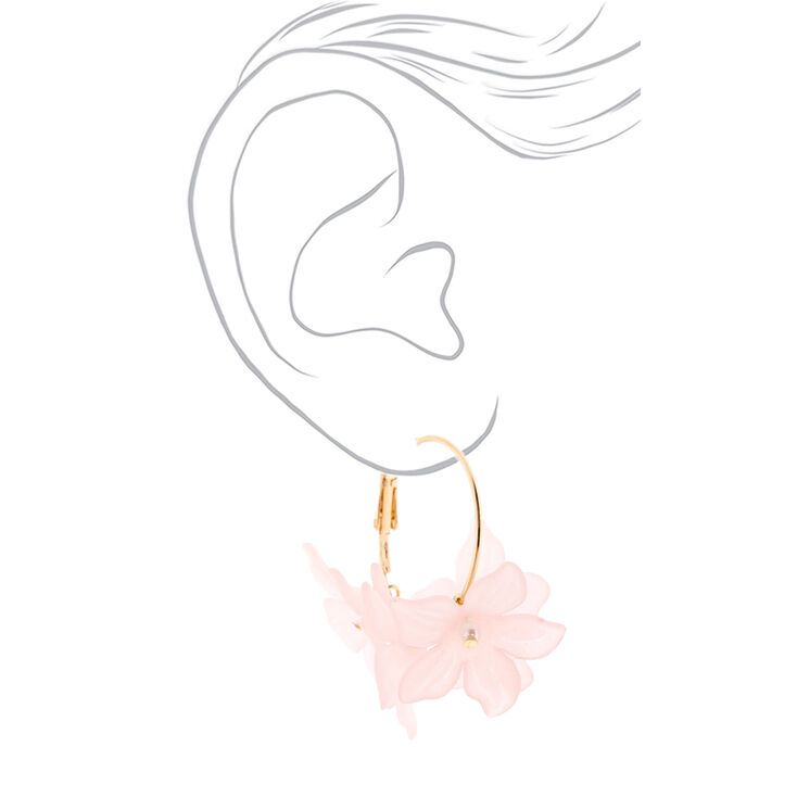 Gold 30MM Flower Hoop Earrings - Pink,