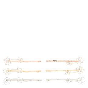 Mixed Metal Floral Hair Pins - 6 Pack,