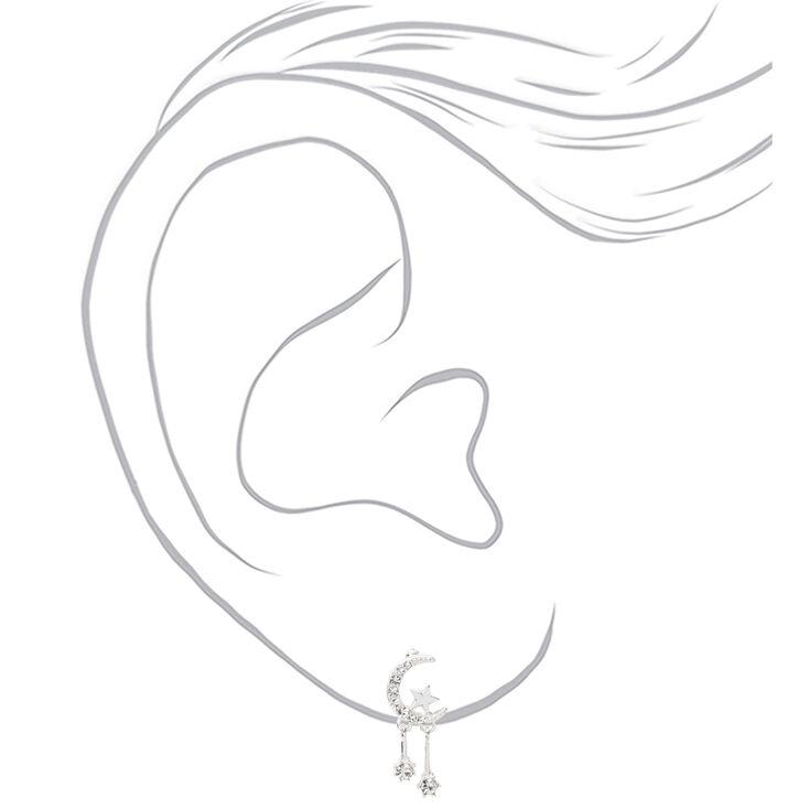"""Silver 1"""" Celestial Drop Earrings,"""