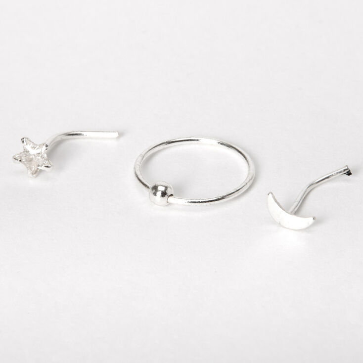 Sterling Silver 22G Cubic Zirconia Moon Star Nose Rings - 3 Pack,