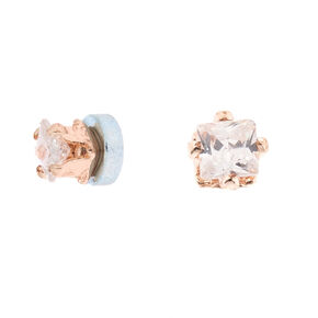 Rose Gold Cubic Zirconia Round Magnetic Stud Earrings - 2MM,