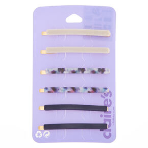 Gold Marble Hair Pins - Navy, 6 Pack,