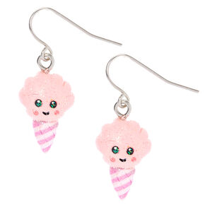 "Silver 1"" Happy Cotton Candy Drop Earrings - Pink,"