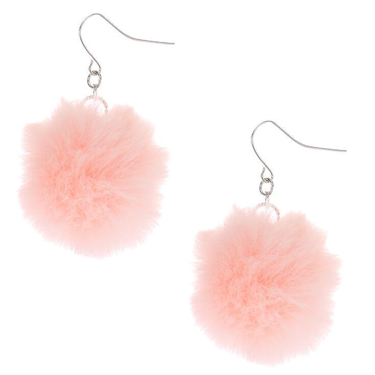 """Silver 1.5"""" Pom Pom Drop Earrings - Light Pink,"""