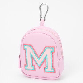 Pink Varsity Initial Mini Backpack Keychain - M,