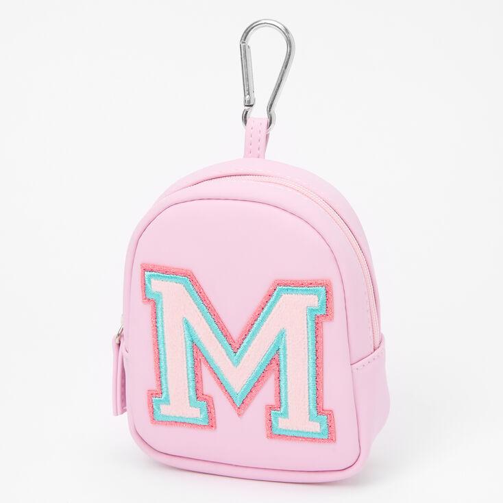 Pink Varsity Initial Mini Backpack Keychain - M,