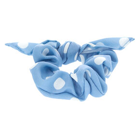 Small Polka Dot Knotted Bow Hair Scrunchie - Blue,