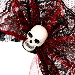 Black & Red Skull Tulle Headband,