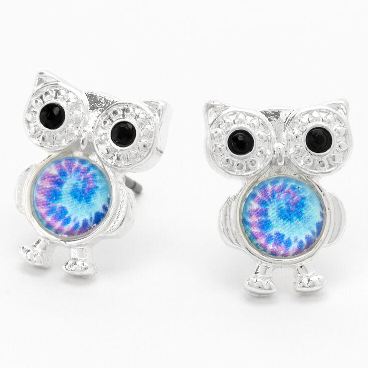 Silver Tie Dye Owl Stud Earrings,