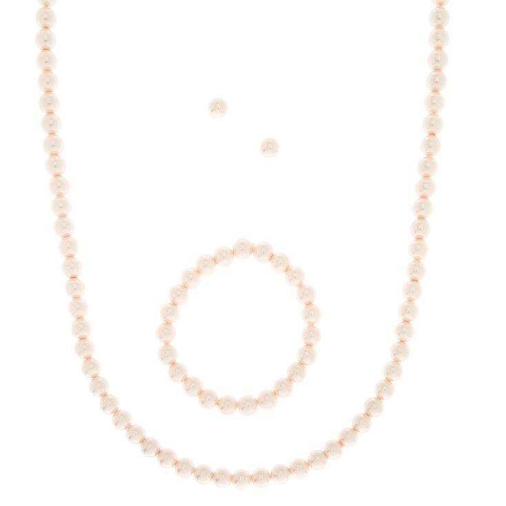 Ensemble 3 pièces de bijoux en perles d'imitation roses,