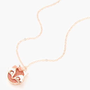 Rose Gold Glitter Fox Locket Pendant Necklace,