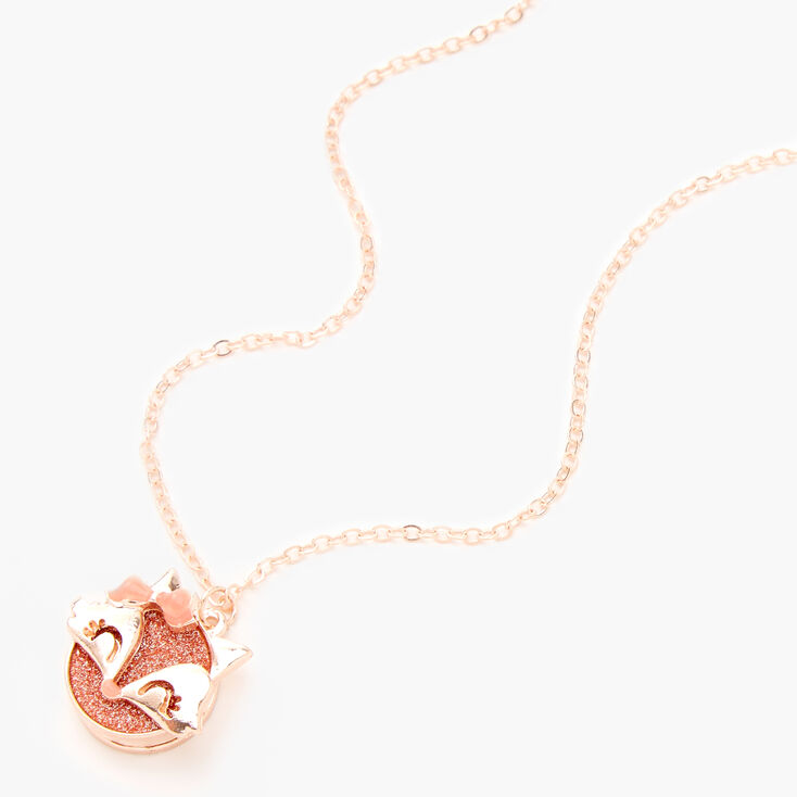 Rose Gold Glitter Fox Locket Pendant Necklace,