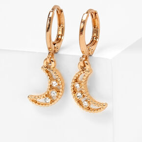 Gold 10MM Embellished Moon Huggie Hoop Earrings,