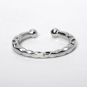 Silver Textured Faux Hoop Nose Ring,