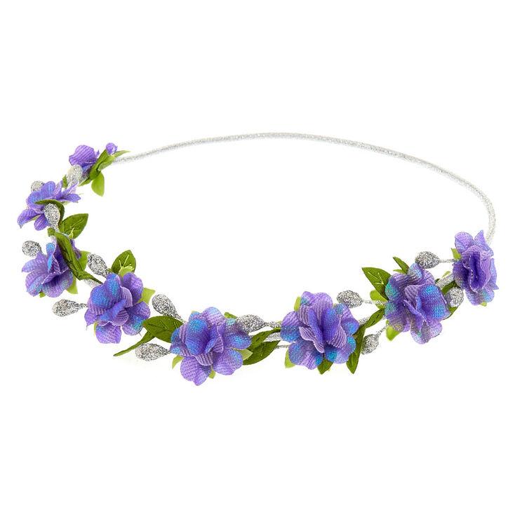 Silver Flower Crown Headwrap - Purple,