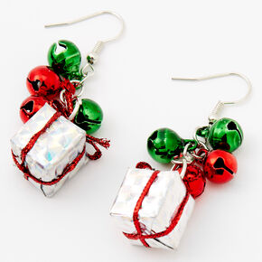 "Silver 1.5"" Jingle Bells & Present Drop Earrings,"