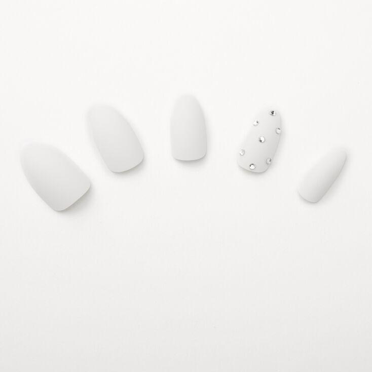 Matte Bling Stiletto Faux Nail Set - White, 24 Pack,