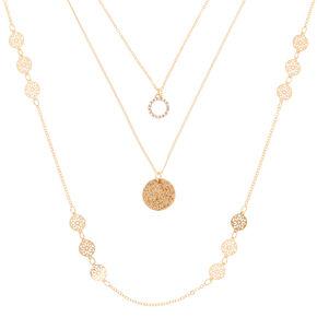Gold Glitter Filigree Multi Strand Necklace,